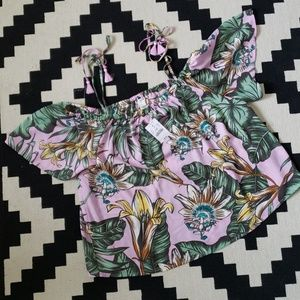 J Crew Floral Off Shoulder Top